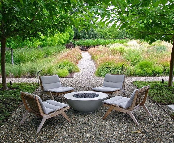 Scott Lewis nestled four Serene Lounge Chairs from Henry Hall around a fire pit…