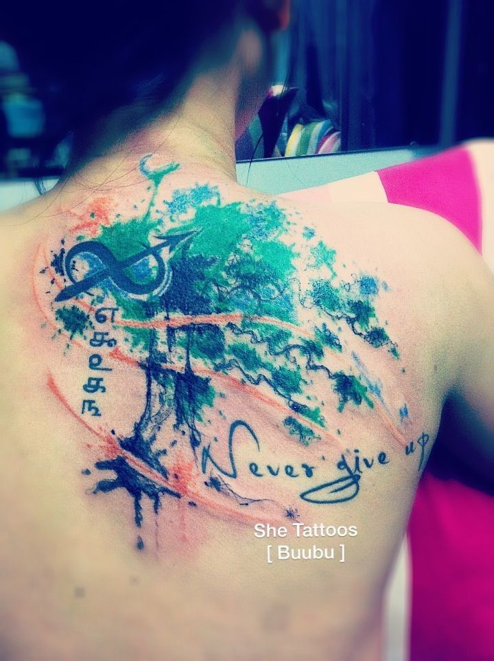 Vintage tree of life watercolor tattoo on shoulder blade ...