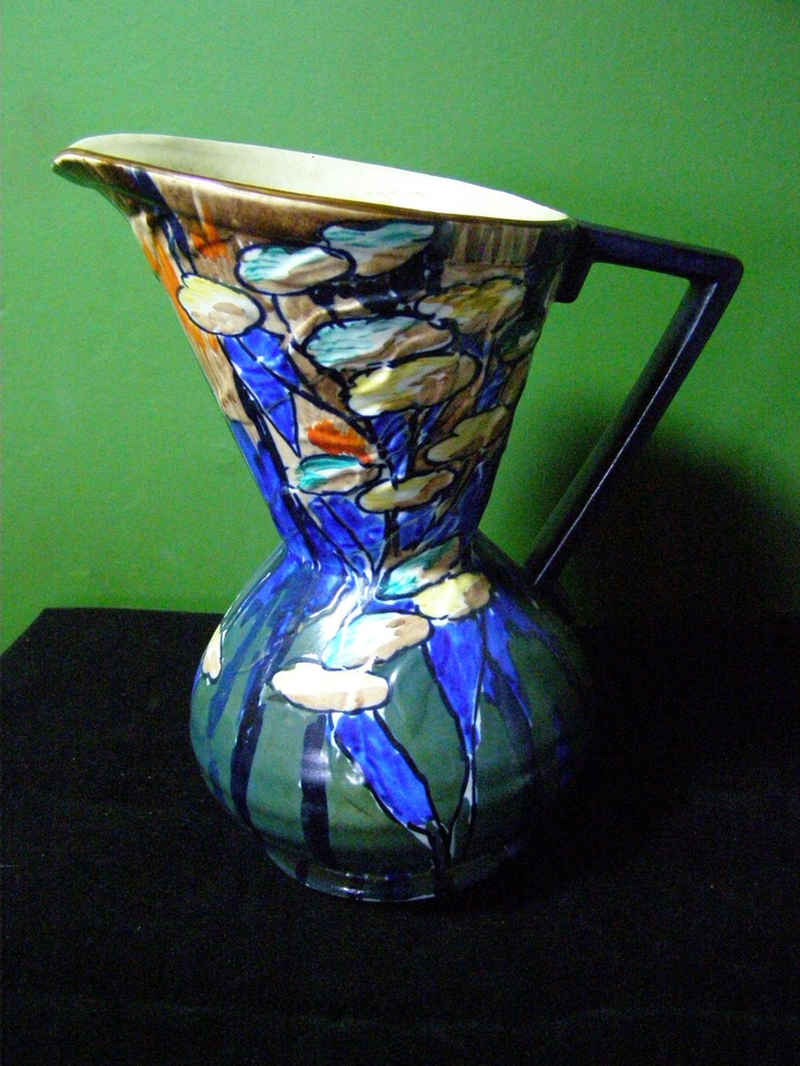 Antique Art Deco H & K Tunstall Pottery Pitcher Ewer Rare Design Vibrant Colors | eBay