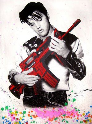 strumming my machine gun-Elvis by Mr. Brainwash