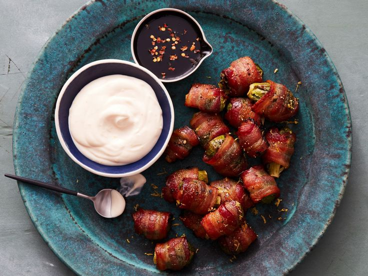 Bacon-Wrapped Brussels Sprouts with Creamy Lemon Dip recipe from Food Network Kitchen via Food Network