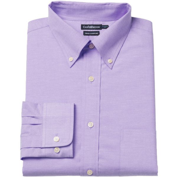 Men's Croft & Barrow® Easy-Care True Comfort Slim-Fit Stretch Dress... ($45) ❤ liked on Polyvore featuring men's fashion, men's clothing, men's shirts, men's dress shirts, med purple, men's patterned dress shirts, mens plaid shirts, mens pocket t shirts, mens purple dress shirt and mens long sleeve pocket t shirts