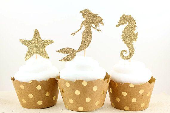 Aliexpress.com: Comprar Glitter Mermaid Seahorse Starfish Under the Sea primeros de la magdalena cumpleaños boda de playa nupcial de la ducha del partido de compromiso selecciones de alimentos de color de los alimentos para la torta fiable proveedores en Terry Hong