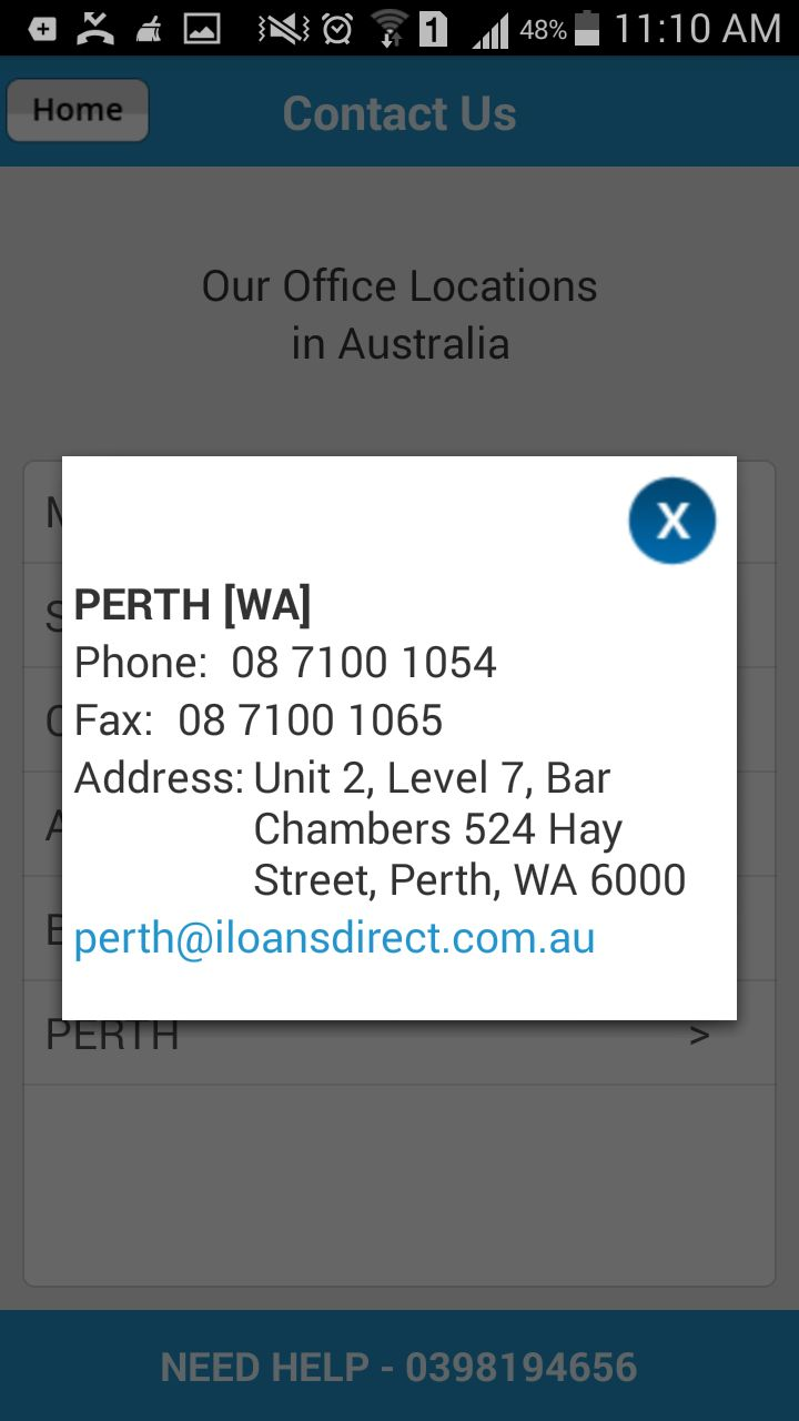 #LoansDirect #LoanCalculatorAustralia smartphone app provides full fledged contact information of the Perth office.