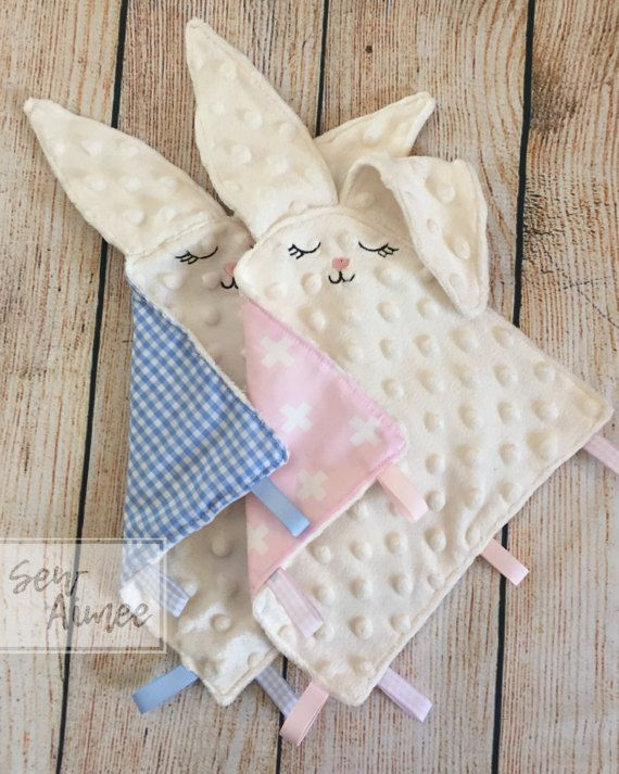 Bunny Taggie Easter Bunny Taggy Baby comforter Sensory by Sewaimee