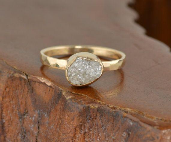 3 quilates diamante sin cortar 14k oro anillo