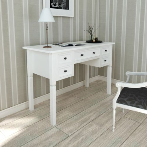 New White Writing Desk with 5 Drawers Made of Pine for Bedroom and Office Paint | eBay