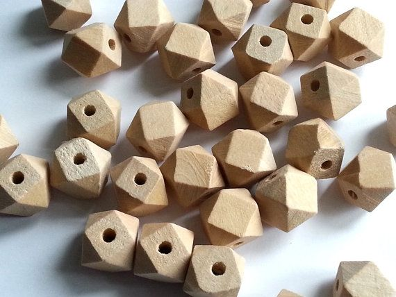 Etsy.com 20 x unfinished geometry wood blank, diy geometrical faceted wooden beads, 12 mm