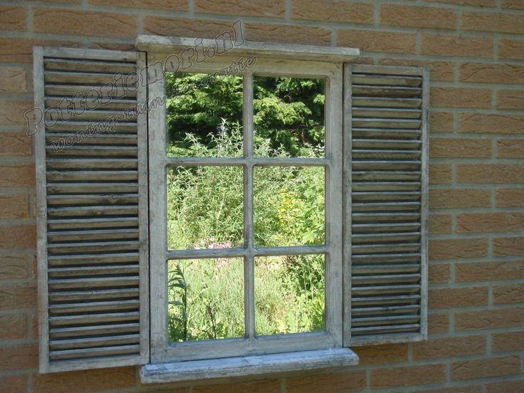 Houten tuinspiegel met Louvre deuren 70,5x87,5x7 cm whitewash