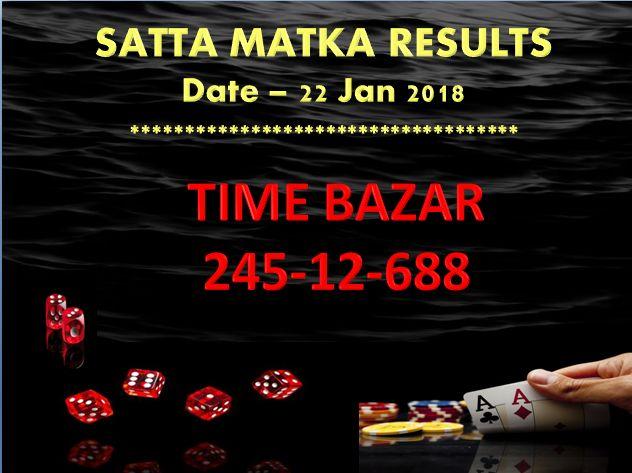 TIME BAZAR SATTA MATKA CLOSE RESULT Date - 22 Jan 2018  #satta #matka #sattamatka #sattaking http://sattaking143.mobi/