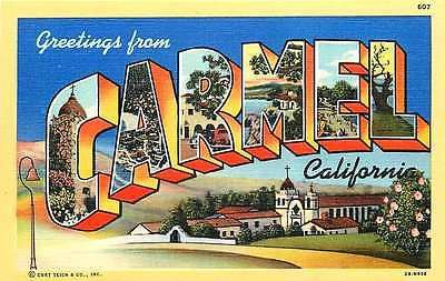 1942 Large Letter Greetings From Carmel California CA Antique Vintage Postcard