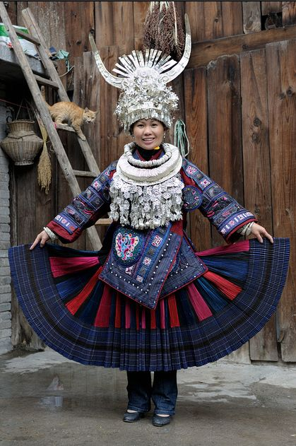 "*|* Miao - Guizhoo - China.  ""Keepers of silver"".  With a population of more than seven million, the Miao people form one of the largest ethnic minorities in southwest China. The Miao ethnic group's silver ornaments are second to none, both in terms of quantity and variety. Miao women's festive attire includes a variety of silver decorations, weighing as much as 15 kilos!"