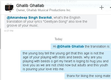 A Delightful & Fulfilling feeling for an artist when such #international #artists praise for your work your #singing & #composition. Thank to Manue RV Singh for creating such good #music for my composition too.  Ghalib Ghallab Thank you my brother and fellow artist for such praise. Amandeep Singh #SwarAdi  Check out: http://www.amazon.de/Geetiyan/dp/B00L1WX5FI  http://www.beatport.com/track/geetiyan-original-mix/5544948