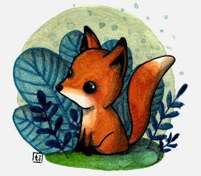 TITIRI a watercolor illustration of a little fox