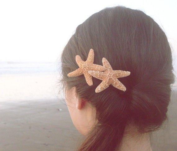 Doppio Starfish Barrette Starfish capelli Clip sirena Starfish capelli accessori spiaggia matrimonio nuziale capelli accessori spiaggia damigelle estate