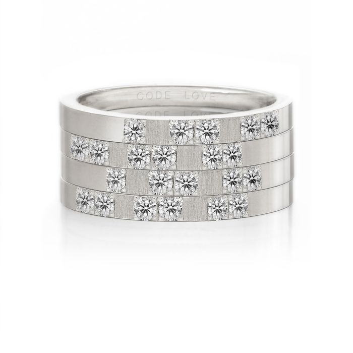 CODE LOVE 'XOXO' Morse Code Union Ring - These unique and beautiful Union Rings have been designed to stack. There are 26 rings in the collection each representing a letter of the English alphabet. Designed using brilliant cut diamonds set in either rose, yellow or white gold you can create whatever your heart desires! www.codelove.com.au