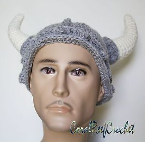 Crochet viking helmet with horns. Handmade in Australia.