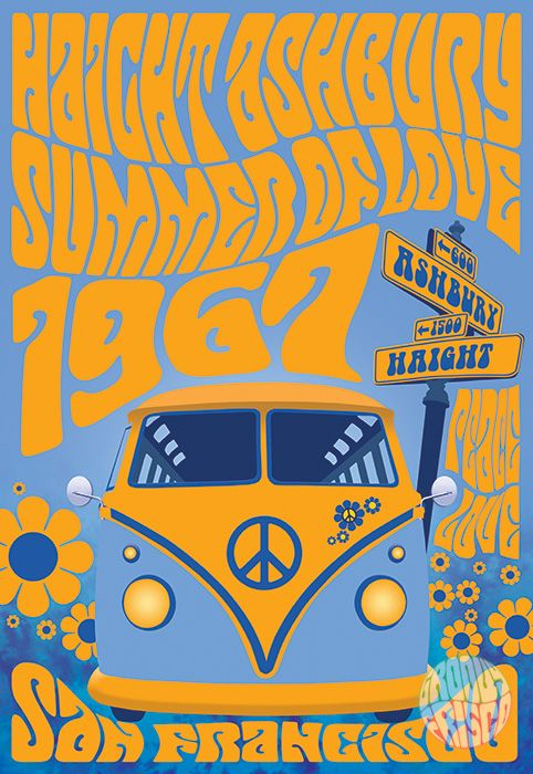 "Haight Ashbury Summer Of Love - featuring Haight Ashbury, Summer Of Love, 1967 and a Super Groovy VW Bus!! - 13"" x 19"" Giclee print on archival quality thick 50 lb. paper stock. (actual print has no watermark) - purchase @ www.groovyfrisco.com"