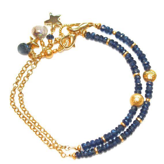 Saffier armband gouden ketting ster hemelse van FizzCandy op Etsy