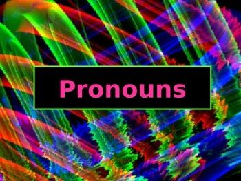 This is a 19-slide PowerPoint presentation on subject, object, possessive, and reflexive pronouns. The presentation includes: 1) subject pronouns & examples; 2) object pronouns & examples; 3) practice & answers  identifying subject & object pronouns; 4) possessive pronoun with examples, practice, and answers; 6) reflexive pronouns with examples, practice, and answers.