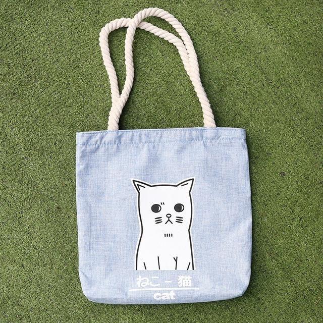 Women Cute Cartoon Bags Cat Canvas Bags Shoulder Bag Casual Handbag Women Bag