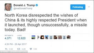 Ketika Trump Membully Kim Jong Un Terkait Gagalnya Uji Coba Peluncuran Rudal Nuklir  Lingkarannews.com Trump mengatakan Korea Utara tidak menghormati China setelah kegagalan uji coba peluncuran rudal nuklir pada sabtu dini hari  Donald Trump telah menyerang Korea Utara dengan mengatakan Kim Jong Un tidak menghormati China menyusul peluncuran rudal nuklirnya yang gagal.  Pejabat AS dan Korea Selatan mengatakan rudal balistik mid-range Korea Utara tampaknya gagal sesaat setelah diluncurkan…