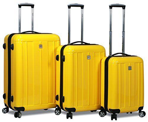 HiPack X-Treme Series 3-piece Expandable Hardshell Spinners w/ Tamper Proof TSA Lock Luggage Set (Yellow)