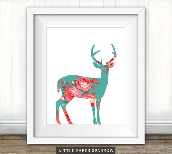 Printable Rustic NURSERY ART - Oh Deer - Teal, Mint, Coral, Peach, Green, Pink, Red_8 x 10 inch - 6 x 8 inch
