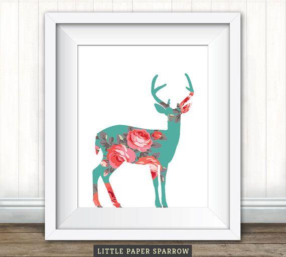 Printable Rustic NURSERY ART - Oh Deer - Teal, Mint, Coral, Peach, Green, Pink, Red_8 x 10 inch - 6 x 8 inch