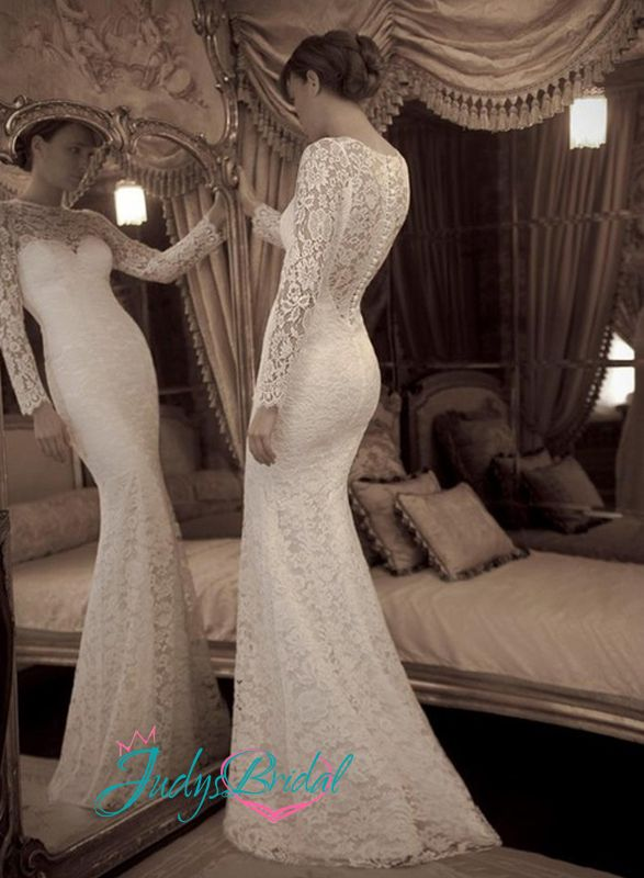 elegant soft french lace sheath wedding dress with semi sheer back and long sleeves