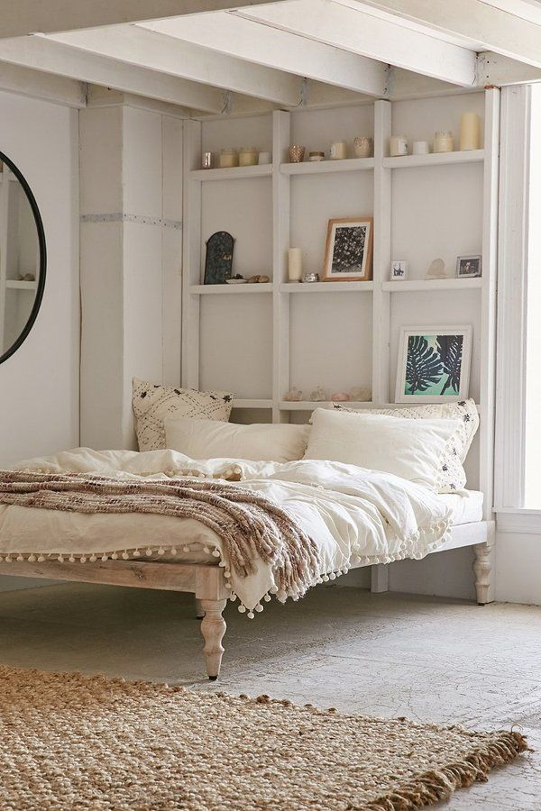 Magical Thinking Bohemian Platform Bed Urban Outers Loving The Shelves On Wall In Lieu Of A Headboard