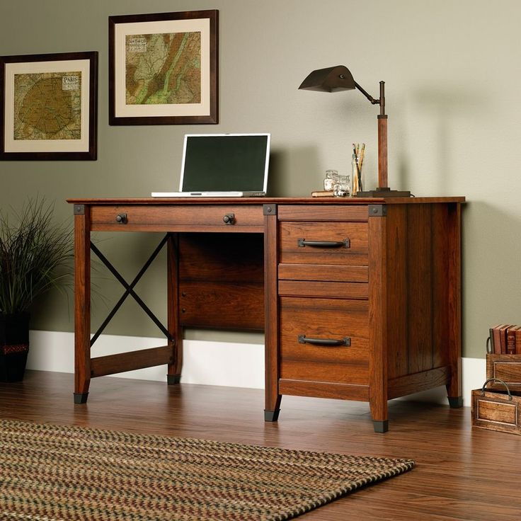 small home office desk with drawers