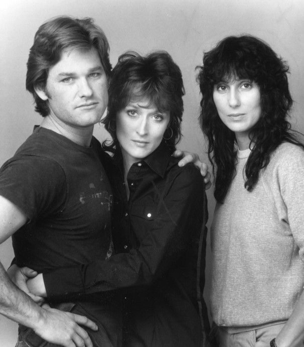 The 1983 Silkwood cast - Streep, Cher and Kurt Russell - all looking very young.