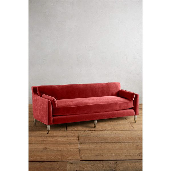 Anthropologie Velvet Leonelle Petite Sofa (3,235 CAD) ❤ liked on Polyvore featuring home, furniture, sofas, red, red couch, anthropologie sofa, velvet couch, red velvet sofa and velvet furniture