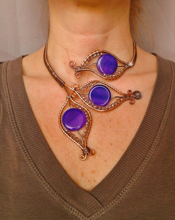 Wire Wrap Cooper necklace/arm bracelet/ Bracciale da spalla/Copper wire wrap/ Wire wrapping jewelry/ Monili in rame/ Bracciale agate