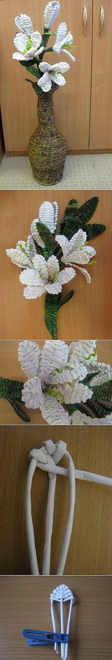 (+1) тема - МК Ветка лилии в напольной вазе. | СДЕЛАЙ САМ!