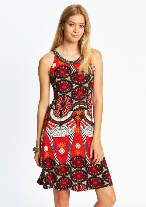 Lola Liza Mouwloze jurk met print - TOMATO FLAME sleeveless dress ethnic print red