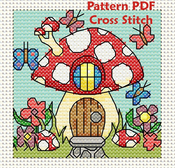 Happy mushroom house with butterflies cross stitch pattern.