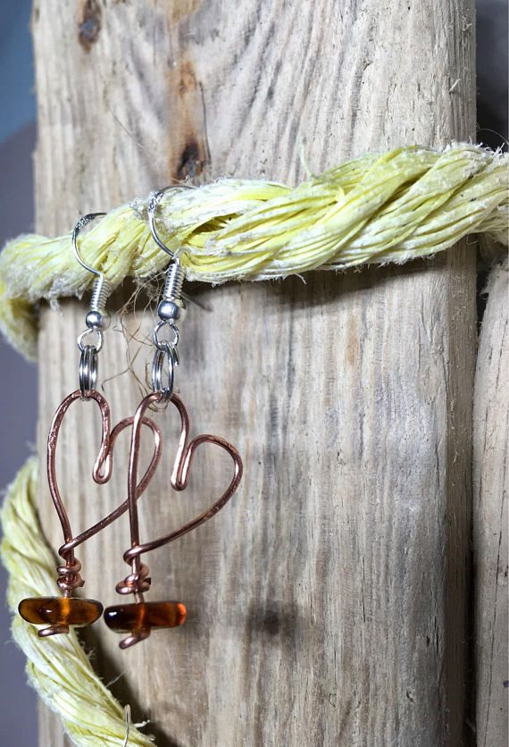 Love Heart Copper and Sea Glass Earrings Recycled Jewellery