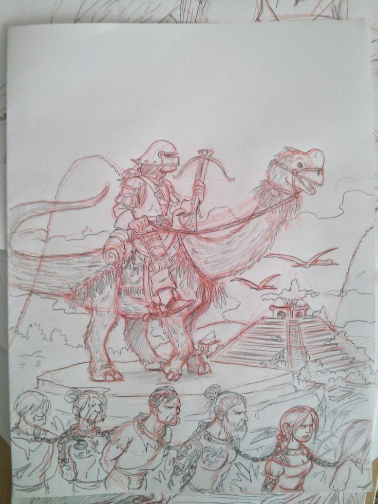 Half-orc conquistador and human slaves