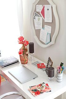 Home office idea.  Cute old mirror idea!