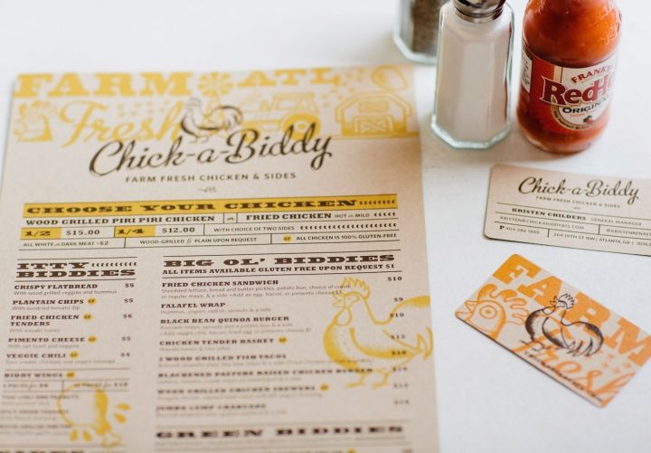 Chick-a-Biddy Farm Fresh Chicken & Sides branding by Tad Carpenter Creative / Brand and Identity design / menu and business cards /  retaildesignblog.net
