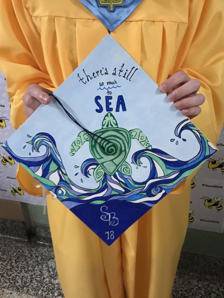 Ocean themed graduation cap that i designed and painted!