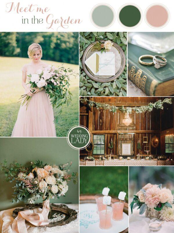 Green sage blush wedding color palette