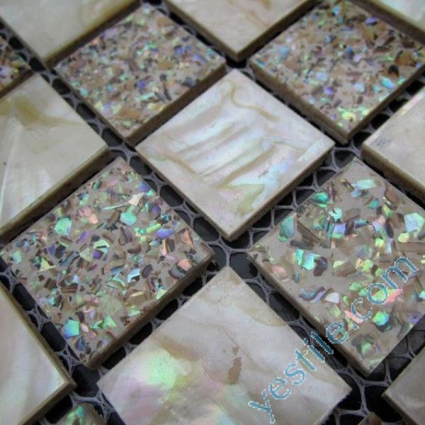 Crushed Abalone Mosaic Tiles Mixed White Mother Of Pearl
