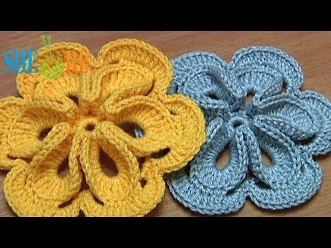 Crochet Flower with Six Petals and 3D Center - she does a great job with this tutorial and makes it look easy!