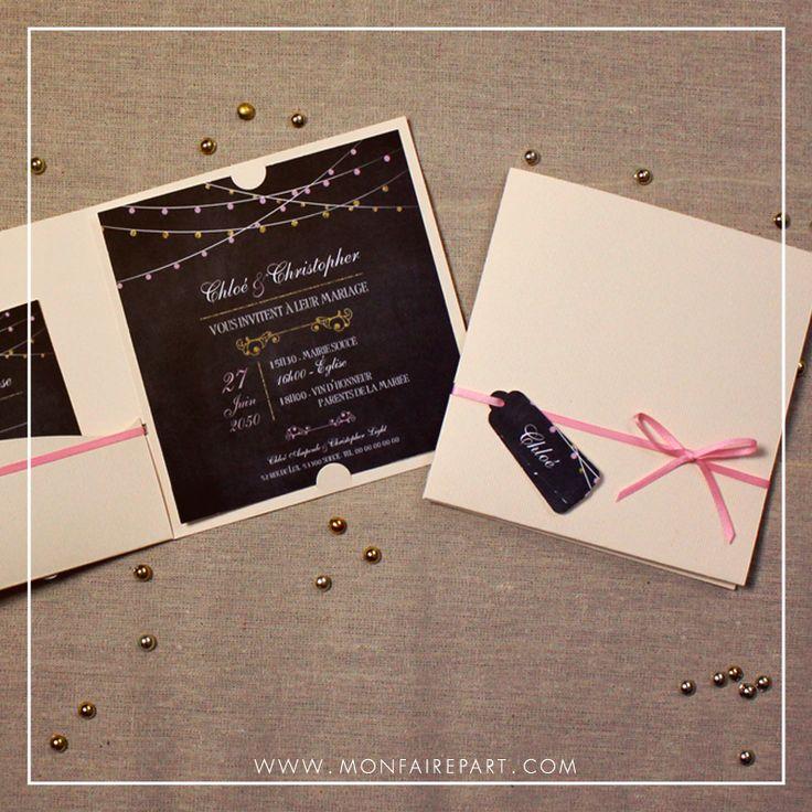 top wedding invitations016%0A Collection faire part mariage pochette prestige avec son joli ruban et ses    tiquettes personnalisables  ref