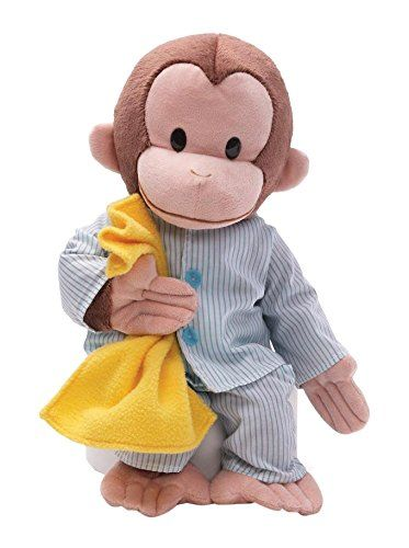 "Gund Curious George Pajamas Stuffed Animal - GUND has teamed up with everybody's favorite monkey — Curious George! This 16"" plush version of Curious George is dressed in adorable striped pajamas and is holding his favorite yellow blanket. A great gift idea for any Curious George fan who loves to sleep in on the weekends..."