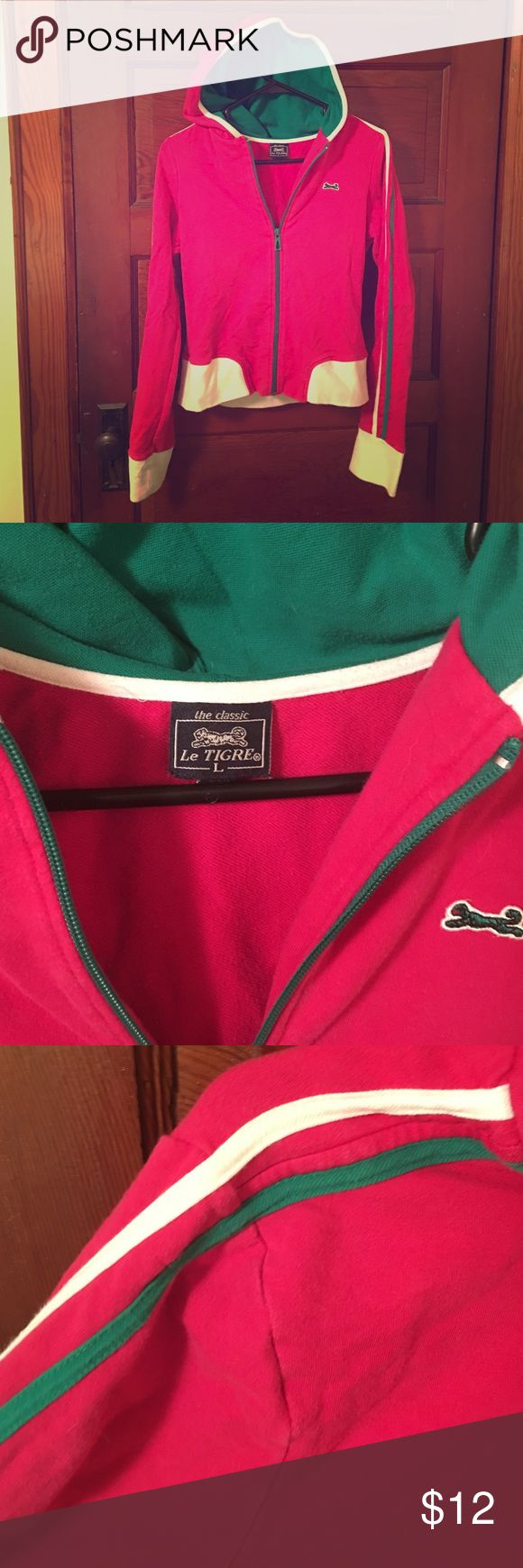 Le Tigre pink and green zip up 95% cotton 5% spandex. Le Tigre Jackets & Coats