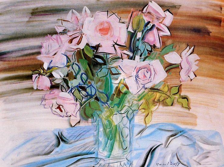 """raoul dufy - """"roses dans un vase"""",1941 gouache on paper."""